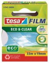 CINTA ADHESIVA CRISTAL TESA 33 MT X 19 MM 100% PLASTICO RECICLADO ECO & CLEAR