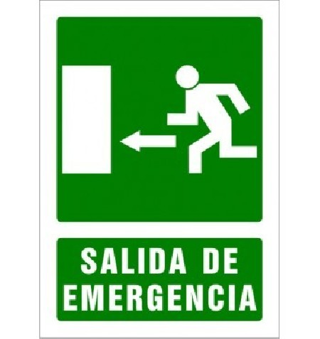 SEÑAL PVC A4 SALIDA DE EMERGENCIA FLECHA IZQUIERDA