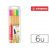 ROTULADOR PUNTA FIBRA STABILO POINT 88 PACK 6 COLORES NEON 0,4 MM