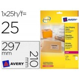 ETIQUETAS AVERY A4 POLYESTER TRANSP. 210x297 mm CAJA 25h 200 uds. C.ROMOS LASER QuickPEEL
