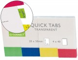 BANDERITAS SEPARADORAS Q-CONNECT 20x50 MM PACK 4 COLORES TRANSPA