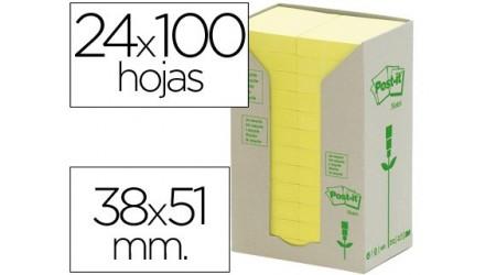 NOTAS ADHESIVAS POST-IT 653-1T 100 H. RECICLADO 38x51 MM PACK 24 ROLLOS