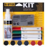 KIT PIZARRA BORRADOR + SPRAY + 4 IMANES + 4 ROTULADORES BI-OFFICE
