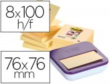 NOTAS ADHESIVAS POST-IT 654-S ZIG ZAG SUPER STICKY 90 H. 76x76 PACK 8 UNID.CON DISPENSADOR