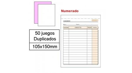 TALONARIO CAMAREROS 1/8 NATURAL DUPL. AUTOCOP. NUMERADO