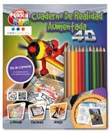"""CUADERNO PARA COLOREAR DE REALIDAD AUMENTADA 4D """"DIA DE CARRERAS"""" CON LAPICES DE COLORES"""