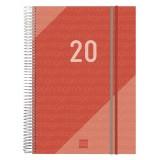 AGENDA 2020 ESPIRAL FINOCAM YEAR E40 A4 21x29,7 CM DIA PAGINA ROJO TAPA PP C/GOMA