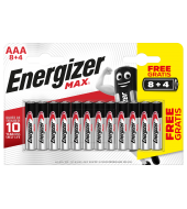 PILAS ENERGIZER MAX ALCALINAS AAA LR6  8+4 UNIDADES
