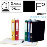 CARPETA FOLIO 2 ANILLAS 25 MM. CARTON FORRADO ANCOR