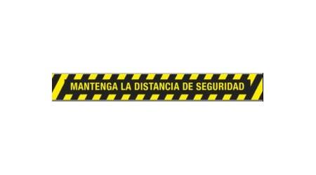 """SEÑALIZACION SUELO """"MANTENGA LA DISTANCIA DE SEGURIDAD"""" 100x12 CM COLOR AMARILLO/NEGRO"""
