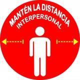 """SEÑALIZACION SUELO """"MANTEN LA DISTANCIA INTERPERSONAL""""  CIRCULO 30 CM  ROJO/BLANCO"""