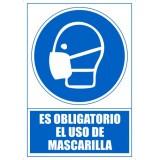 """SEÑAL PVC A4 USO OBLIGATORIO """"ES OBLIGATORIO EL USO DE MASCARILLA"""""""