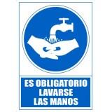 """SEÑAL PVC A4 """"ES OBLIGATORIO LAVARSE LAS MANOS"""""""