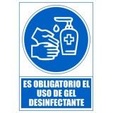 """SEÑAL PVC A4 """"ES OBLIGATORIO EL USO DE GEL DESINFECTANTE"""""""