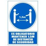 """SEÑAL PVC A4 """"ES OBLIGATORIO MANTENER 1'5 METROS DE DISTANCIA DE SEGURIDAD"""""""