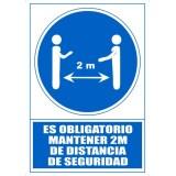 """SEÑAL PVC A4 """"ES OBLIGATORIO MANTENER 2 METROS DE DISTANCIA DE SEGURIDAD"""""""
