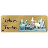 ETIQUETAS FELICES FIESTAS 20x55 MM. ROLLO DE 200 UNIDADES CASAS/
