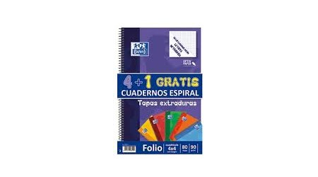 492140197d CUADERNO OXFORD FOLIO 80 H. 90 GR. COMPRA 4 + 1 TAPA EXTRADURA ...