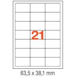 ETIQUETAS A4 100H. INETA  63,5X 38,1  2100U. 02414 CANTOS ROMOS