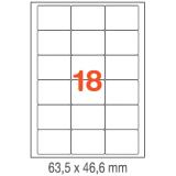 ETIQUETAS A4 100H. INETA  63,5X 46,6  1800U. 02415 CANTOS ROMOS