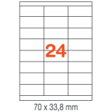 ETIQUETAS A4 100H. INETA  70X 33,8  2400U. 01293 RECTA
