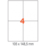 ETIQUETAS A4 100H. INETA 105x148,5  400U. 01280 RECTA