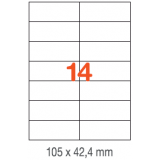 ETIQUETAS A4 100H. INETA 105x 42,4  1400U. 01277 RECTA