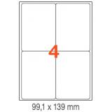ETIQUETAS A4 100H. INETA  99,1X139  400U. 02422 CANTOS ROMOS