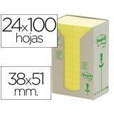 NOTAS ADHESIVAS POST-IT 653-1T 100 H. RECICLADO 38x51 MM PACK 24 ROLLOS