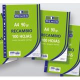 RECAMBIO A4 PAUTA 3,5  90 GR. 100 HOJAS 4 ANILLAS PREMIER