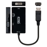 ADAPTADOR VIDEO DE DISPLAYPORT MACHO A  DVI/VGA/HDMI HEMBRA, 15 CM