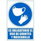 """SEÑAL PVC A4 """"ES OBLIGATORIO EL USO DE MASCARILLA Y GUANTES"""""""