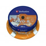 DVD-R 4,7 GB TARRINA 25 VERBATIM PRINTABLE - CANON LPI 5,25 INCLUIDO