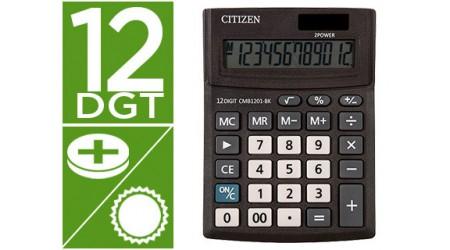 CALCULADORA CITIZEN SOBREMESA CMB1201-BK BUSINESS LINE ECO EFICIENTE SOLAR Y PILAS 12 DIGITOS 136X100X32 MM