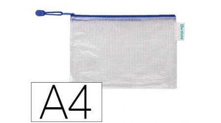 SOBRE PLASTICO A4 CREMALLERA PVC CON CORREA AZUL
