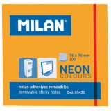 NOTAS ADHESIVAS MILAN 76X76 NEON NARANJA 100 HOJAS