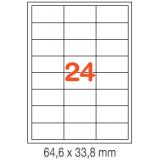 ETIQUETAS A4 100H. INETA  64,6X 33,8  1800U. 02409 CANTOS ROMOS