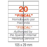ETIQUETAS A4 100H. INETA 105x 29  2000U. 01299 RECTA