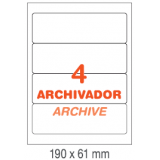 ETIQUETAS PARA ARCHIVO INETA A4,  190x61 MM.  100 HOJAS 400 ETIQUETAS