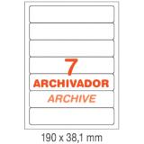 ETIQUETAS PARA ARCHIVO INETA A4,  190x38.1 MM.  100 HOJAS 700 ETIQUETAS